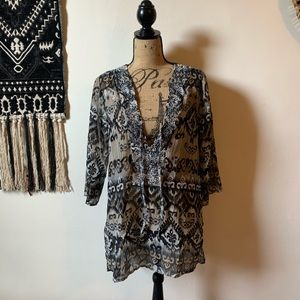 Raviya Tribal Print Beaded Swim Cover Up